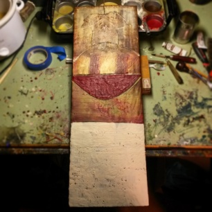 "Work in Progress, Encaustic on Wood 9.5"" x 27"""